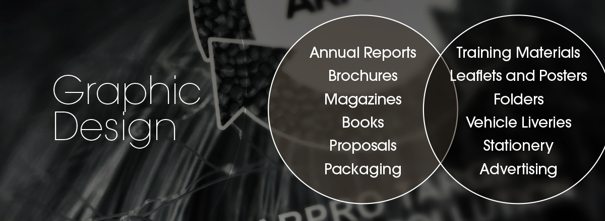 Graphic Design | Annual reports, Brochures, Magazines, Books, Proposals, Packaging, Training Materials, Leaflets and Posters, Vehicle Liveries, Stationery, Advertising
